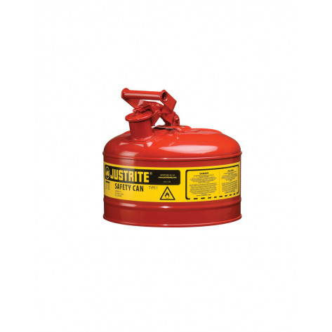 Type I Steel Safety Can for flammables, 2.5 gallon, S/S flame arrester, self-close lid, Red.