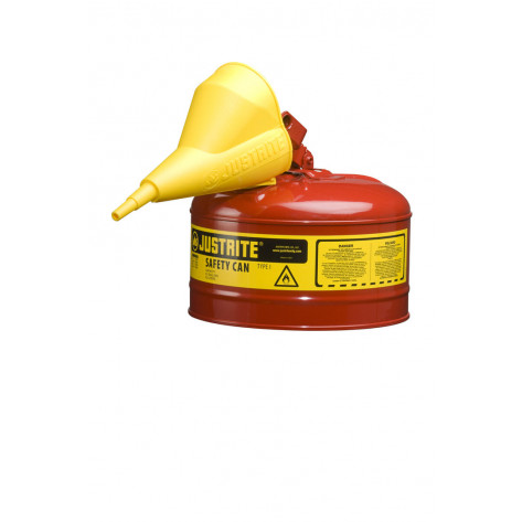 Type I Steel Safety Can for flammables, Funnel 11202Y, 2.5 gallon, S/S flame arrester, s/c lid, Red.