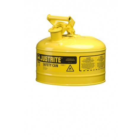 Type I Steel Safety Can for flammables, 2.5 gallon, S/S flame arrester, self-close lid, Yellow.