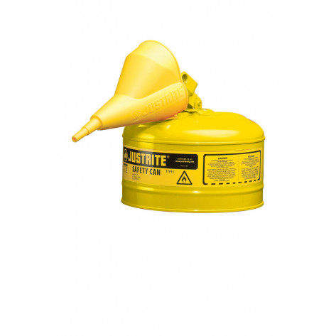 Type I Steel Safety Can for flammables, Funnel 11202Y, 2.5 gallon, S/S flame arrester, s/c lid, Yel.