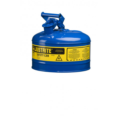 Type I Steel Safety Can for flammables, 2.5 gallon, S/S flame arrester, self-close lid, Blue.