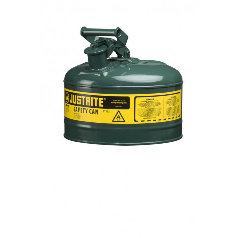 Type I Steel Safety Can for flammables, 2.5 gallon, S/S flame arrester, self-close lid, Green.