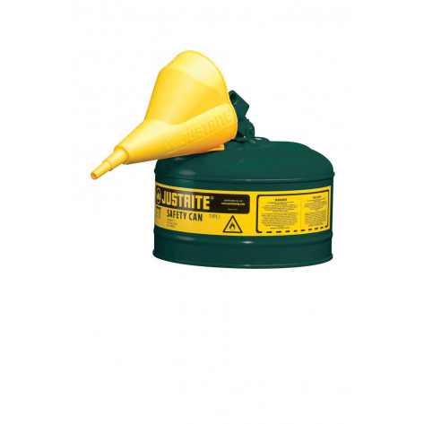 Type I Steel Safety Can for flammables, Funnel 11202Y, 2.5 gallon, S/S flame arrester, s/c lid, Green.