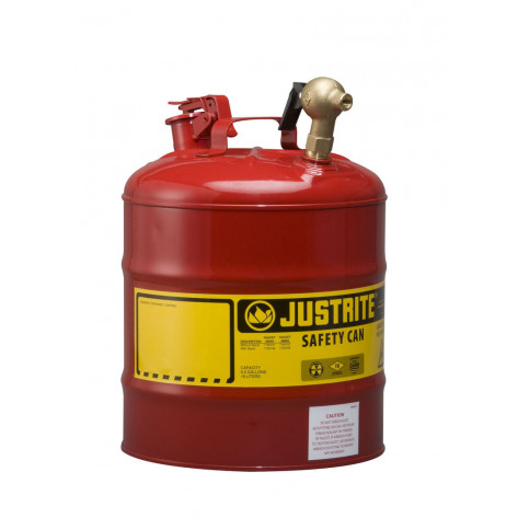 Type I Dispensing Safety Can, 5 gallon, top 08540 brass faucet, S/S flame arrester, Steel, Red.