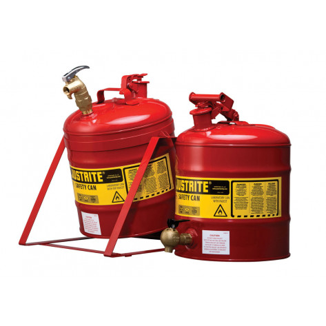 Type I Tilt Safety Can with Stand, 5 gallon, top 08902 faucet, S/S flame arrester, Steel, Red.