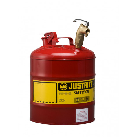 Type I Dispensing Safety Can, 5 gallon, top 08902 brass faucet, S/S flame arrester, Steel, Red.