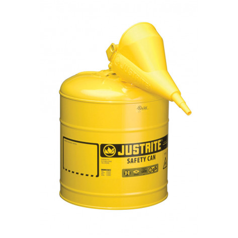 Type I Steel Safety Can for flammables, Funnel 11202Y, 5 gallon, S/S flame arrester, s/c lid, Yellow.