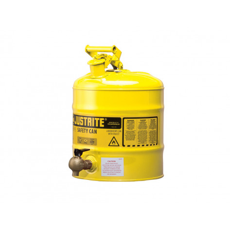 Type I Shelf Safety Can, 5 gallon, bottom 08540 faucet, S/S flame arrester, Steel, Yellow.