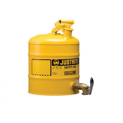 Type I Shelf Safety Can, 5 gallon, bottom 08902 faucet, S/S flame arrester, Steel, Yellow.