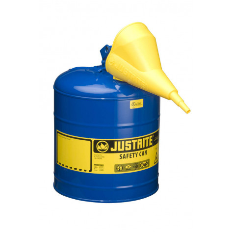 Type I Steel Safety Can for flammables, Funnel 11202Y, 5 gallon, S/S flame arrester, s/c lid, Blue.