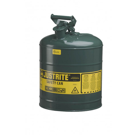 Type I Steel Safety Can for flammables, 5 gallon, S/S flame arrester, self-close lid, Green.
