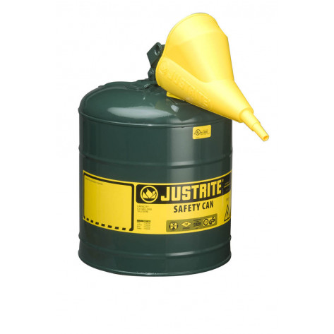 Type I Steel Safety Can for flammables, Funnel 11202Y, 5 gallon, S/S flame arrester, s/c lid, Green.