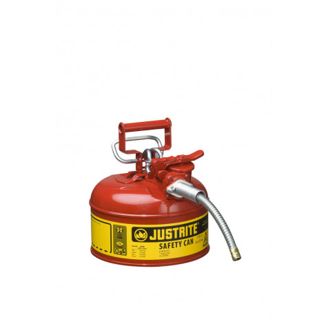 """Type II AccuFlow  Steel Safety Can for flammables, 1 GAL, S/S flame arrester, 5/8"""" metal hose, Red."""