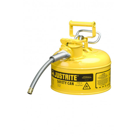 "Type II AccuFlow  Steel Safety Can for flammables, 1 GAL, S/S flame arrester, 5/8"" metal hose, Yel."