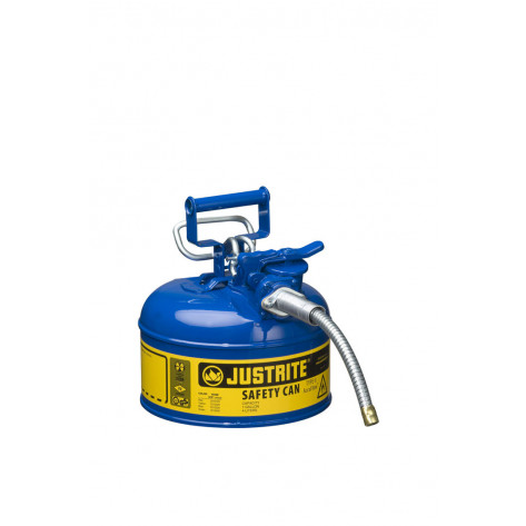 """Type II AccuFlow  Steel Safety Can for flammables, 1 GAL, S/S flame arrester, 5/8"""" metal hose, Blu."""