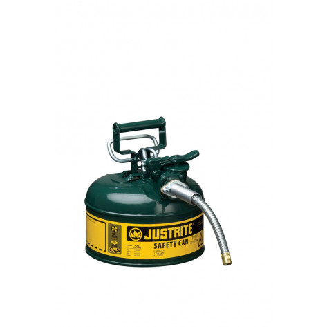 """Type II AccuFlow  Steel Safety Can for flammables, 1 GAL, S/S flame arrester, 5/8"""" metal hose, Green."""