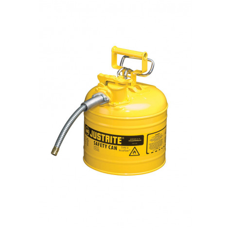 """Type II AccuFlow  Steel Safety Can for flammables, 2 GAL, S/S flame arrester, 5/8"""" metal hose, Yel."""