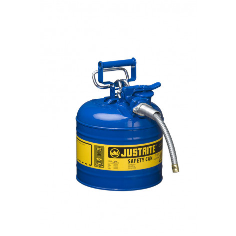 """Type II AccuFlow  Steel Safety Can for flammables, 2 GAL, S/S flame arrester, 5/8"""" metal hose, Blu."""