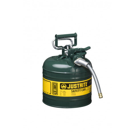 """Type II AccuFlow  Steel Safety Can for flammables, 2 GAL, S/S flame arrester, 5/8"""" metal hose, Green."""
