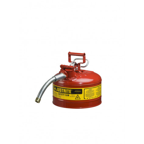 "Type II AccuFlow  Steel Safety Can for flammables, 2.5 GAL, S/S flame arrester, 1"" metal hose, Red."