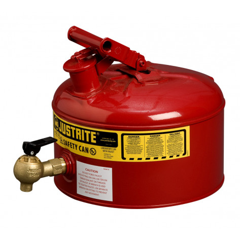 Type I Shelf Safety Can, 2.5 gallon, bottom 08540 faucet, S/S flame arrester, Steel, Red.