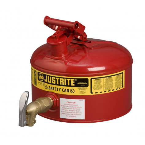 Type I Shelf Safety Can, 2.5 gallon, bottom 08902 faucet, S/S flame arrester, Steel, Red.
