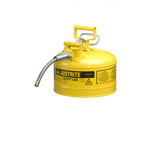 "Type II AccuFlow  Steel Safety Can for flammables, 2.5 GAL, flame arrester, 5/8"" metal hose, Yel."