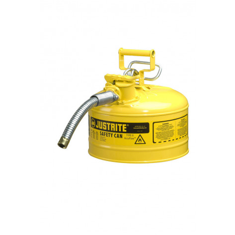 "Type II AccuFlow  Steel Safety Can for flammables, 2.5 GAL, S/S flame arrester, 1"" metal hose, Yel."