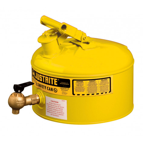 Type I Shelf Safety Can, 2.5 gallon, bottom 08540 faucet, S/S flame arrester, Steel, Yellow.