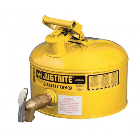 Type I Shelf Safety Can, 2.5 gallon, bottom 08902 faucet, S/S flame arrester, Steel, Yellow.