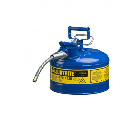 "Type II AccuFlow  Steel Safety Can for flammables, 2.5 GAL, flame arrester, 5/8"" metal hose, Blue."
