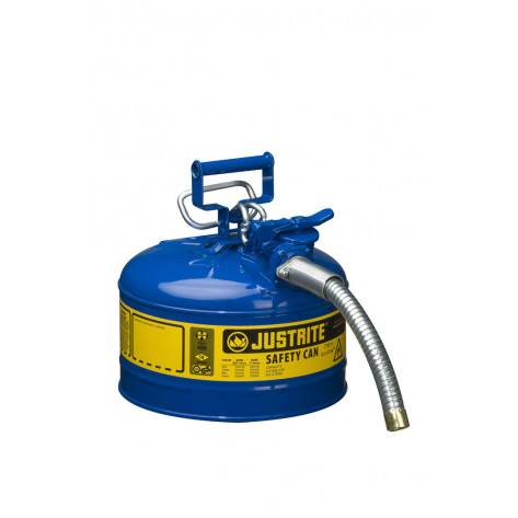 """Type II AccuFlow  Steel Safety Can for flammables, 2.5 GAL, S/S flame arrester, 1"""" metal hose, Blue."""