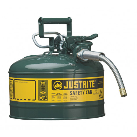 """Type II AccuFlow  Steel Safety Can for flammables, 2.5 GAL, flame arrester, 5/8"""" metal hose, Green."""