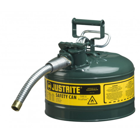 "Type II AccuFlow  Steel Safety Can for flammables, 2.5 GAL, S/S flame arrester, 1"" metal hose, Green."