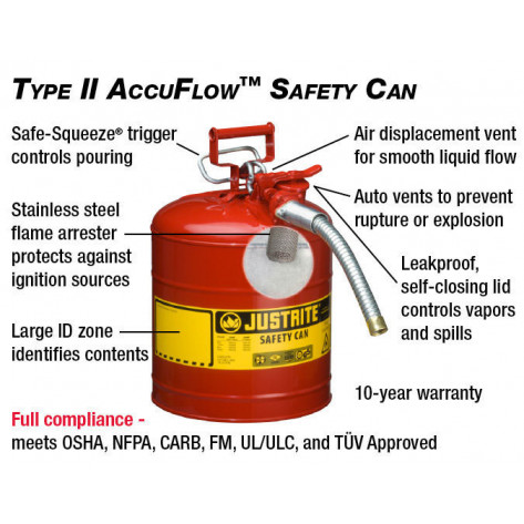 "Type II AccuFlow  Steel Safety Can for flammables, 5 GAL, S/S flame arrester, 1"" metal hose, Red."