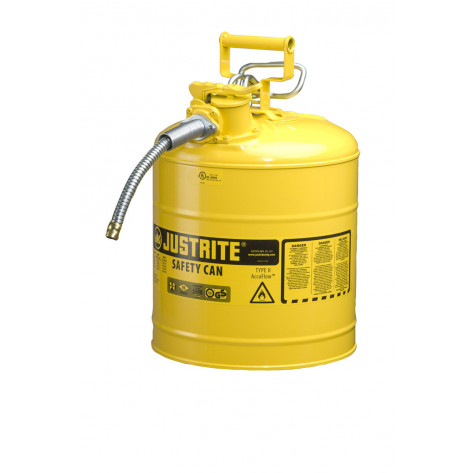 "Type II AccuFlow  Steel Safety Can for flammables, 5 GAL, S/S flame arrester, 5/8"" metal hose, Yel."
