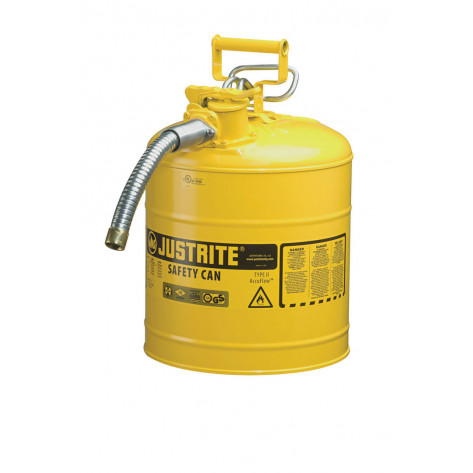 "Type II AccuFlow  Steel Safety Can for flammables, 5 GAL, S/S flame arrester, 1"" metal hose, Yel."