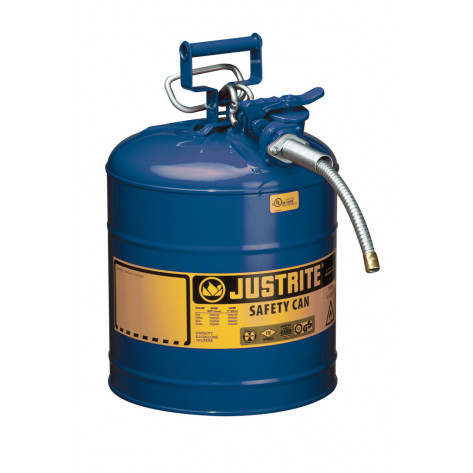 """Type II AccuFlow  Steel Safety Can for flammables, 5 GAL, S/S flame arrester, 5/8"""" metal hose, Blue."""