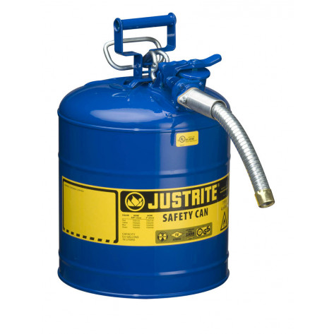 """Type II AccuFlow  Steel Safety Can for flammables, 5 GAL, S/S flame arrester, 1"""" metal hose, Blue."""