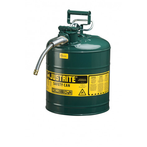 "Type II AccuFlow  Steel Safety Can for flammables, 5 GAL, S/S flame arrester, 5/8"" metal hose, Green."