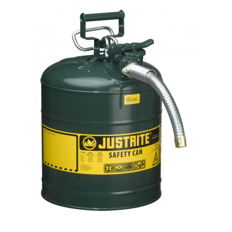 """Type II AccuFlow  Steel Safety Can for flammables, 5 GAL, S/S flame arrester, 1"""" metal hose, Green."""