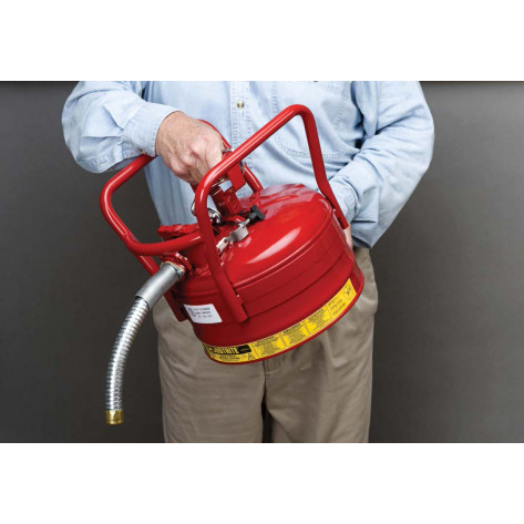 "Type II AccuFlow  D.O.T. Steel Safety Can, 2.5 GAL, 1"" metal hose, flame arrester, roll bars, Red."