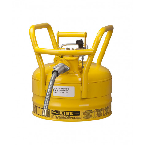 """Type II AccuFlow  D.O.T. Steel Safety Can, 2.5 gal, 5/8"""" metal hose, flame arrester, roll bars, Yel."""