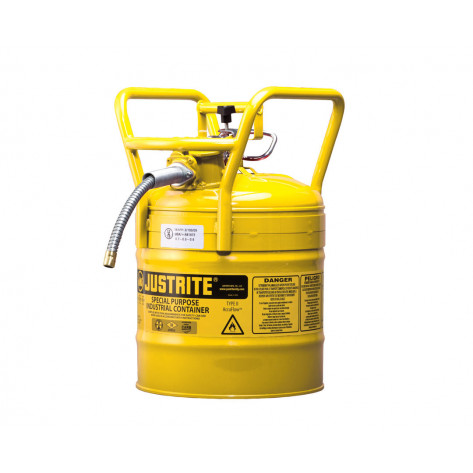 """Type II AccuFlow  D.O.T. Steel Safety Can, 5 GAL, 5/8"""" metal hose, flame arrester, roll bars, Yel."""
