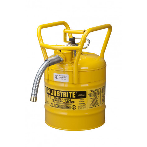 """Type II AccuFlow  D.O.T. Steel Safety Can, 5 GAL, 1"""" metal hose, flame arrester, roll bars, Yel."""