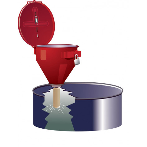 Large Steel Drum Funnel For Flammables With 6 Inch Flame Arrester And Self-Closing Cover, 2 Inch Bung