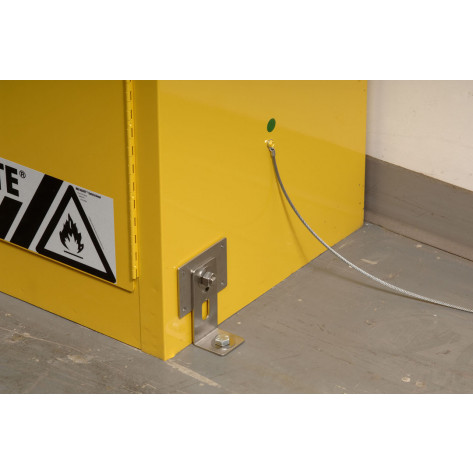 Seismic Bracket Adapter Kit secures safety cabinet to floor or wall with no drilling.