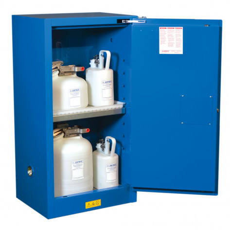 Sure-Grip  EX Compact Hazardous Material Steel Safety Cabinet, Cap. 15 gal, 1 shelf 1 s/c door Royal Blue.