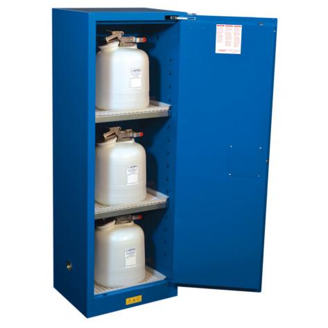 Sure-Grip  EX Slimline Hazardous Material Steel Safety Cabinet, Cap. 22 gal, 3 shelves 1 s/c door Royal Blu.
