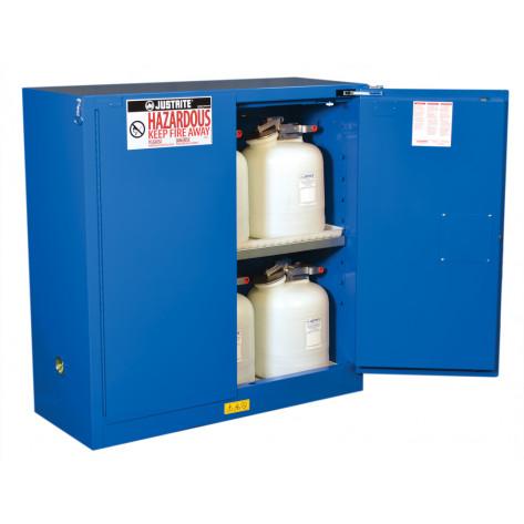 Sure-Grip  EX Hazardous Material Steel Safety Cabinet, Cap. 30 GAL, 1 shelf, 2 s/c doors, Royal Blue.